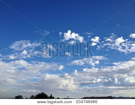Remarkable white clouds in perfectly blue sky