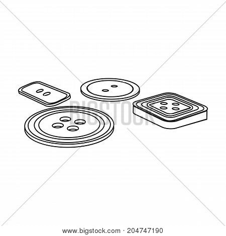 Multicolored buttons for sewing. Sewing and equipment single icon in outline style vector symbol stock illustration .