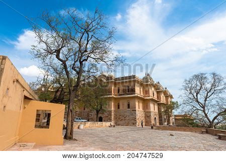 JAIPUR RAJASTHAN INDIA - MARCH 11 2016: Wide angle picture of old building inside Nahargath Fort on the top of the mountains of Jaipur known as pink city in India.