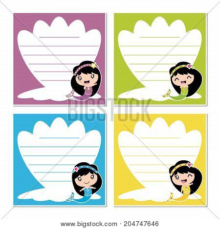 Cute mermaid girls on colorful sea shell frame vector cartoon illustration for kid memo paper design, planner paper and stationery paper