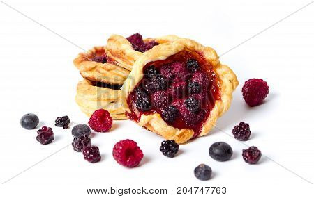 Homemade Berry Fruit Pastry Isolated On White