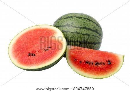 Slice watermelon fruit isolated on white background,tropical fruit