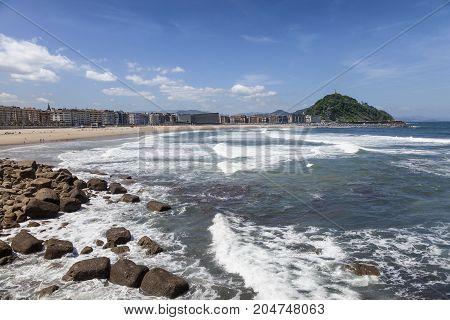 Zurriola beach in San Sebastian Donostia. Basque country Spain