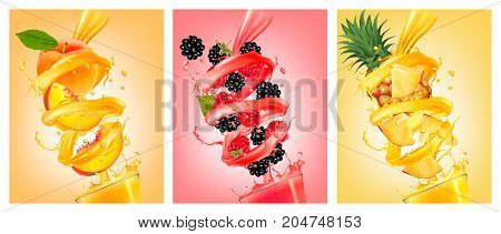 Set of labels of of fruit in juice splashes. Peach strawberry blackberry pineapple. Vector.