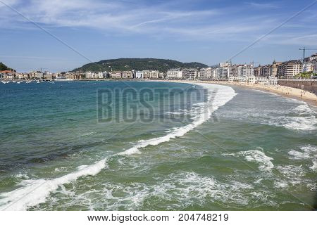 Surf at the La Concha beach in San Sebastian Donostia. Basque country Spain