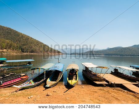 Thai taxi boat at Mae Ngad Dam and Reservoir,Chiangmai,Thailand