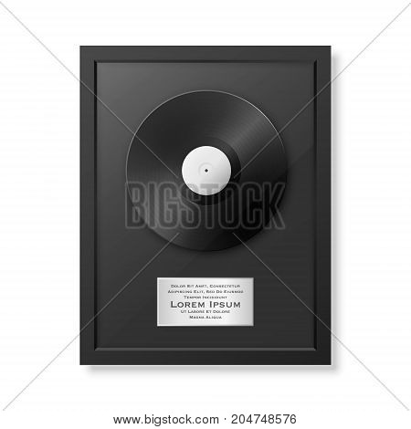 Realistic vector LP and label in glossy black frame icon closeup isolated on white background. Single album disc award. Design template. Stock vector mockup. EPS10 illustration.