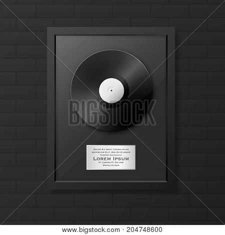 Realistic vector LP and label in glossy black frame icon closeup on black brick wall background. Single album disc award. Design template. Stock vector mockup. EPS10 illustration.