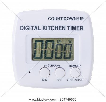 plastic kitchen digital timer isolated on white background