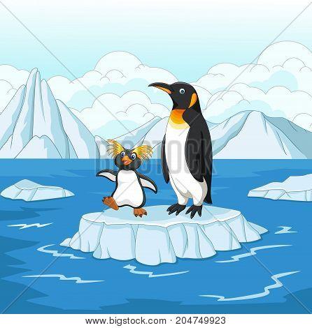Vector illustration of Cartoon penguin playing on ice floe