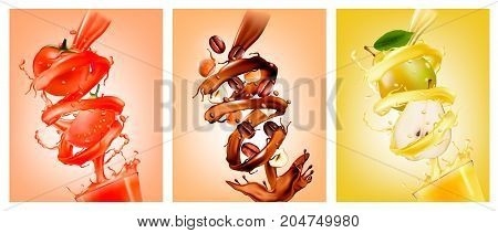 Set of fruit in juice splashes.Pear chocolate coffee tomato. Vector.