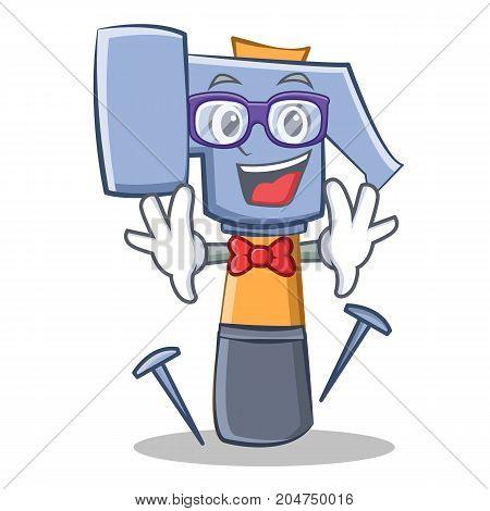 Geek hammer character cartoon emoticon vector illustration