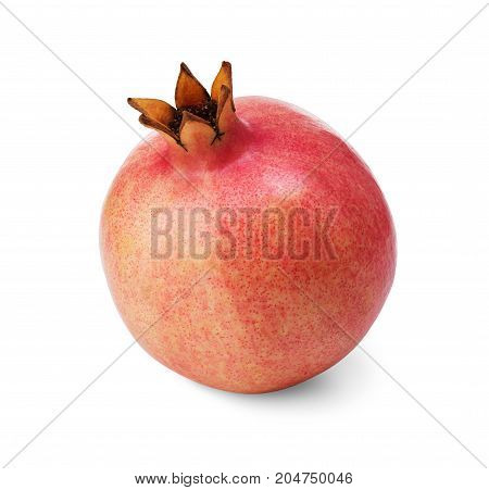 kind of pink pomegranate fruit isolated on white background