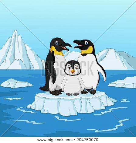 Vector illustration of Cartoon happy penguin family standing on ice floe