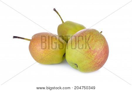fresh red fragrant pear on white background