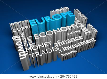 Europe economy and trade investments for GDP growth, 3D rendering