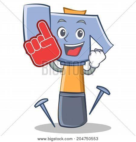 Foam finger hammer character cartoon emoticon vector illustration