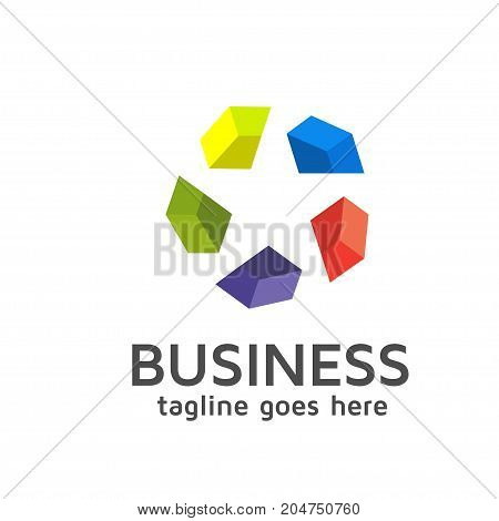 Star made of separate colorful diamond  logo template