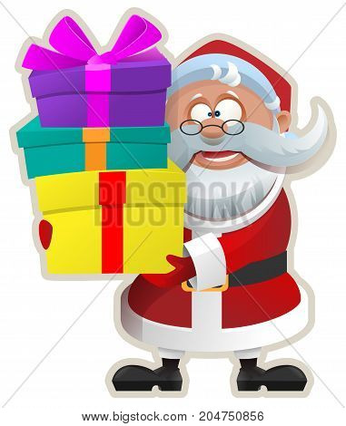 Funny Santa keeps box with gift. Christmas Sticker. Isolated on white vector cartoon illustration