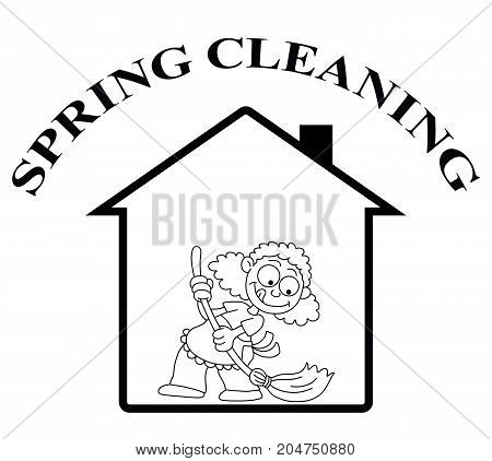 Representation of home spring cleaning isolated on white background