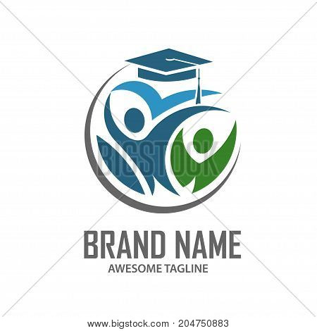 concept of Education, logo, people, celebration, student and book symbol icon