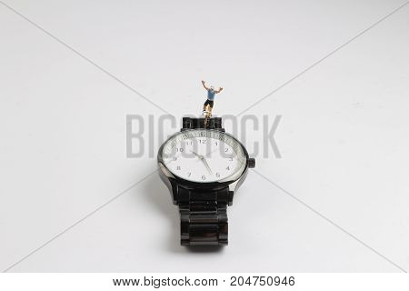 Fun Of Figure Of Man Ride Bicycle On Watch