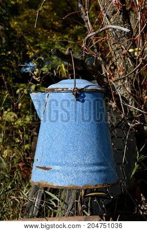 An old blue enamel  coffee pot hung un a tree branch