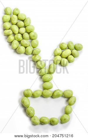 Forming wasabi peanut isolated on white background.