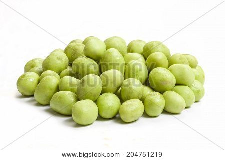 Coated peanut wasabi flavour isolated on white background.