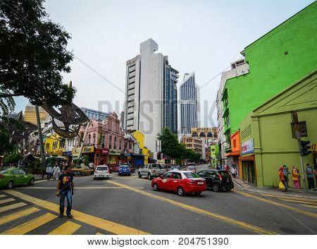 Street At Downtown In Kuala Lumpur, Malaysia