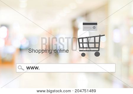 www. on address bar over blur store with bokeh background web banner online shopping background business and technology E-commerce digital marketing