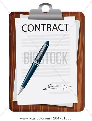 Vector illustration. Business legal agreement concept. Contract of partnership deal treaty form document isolated on white