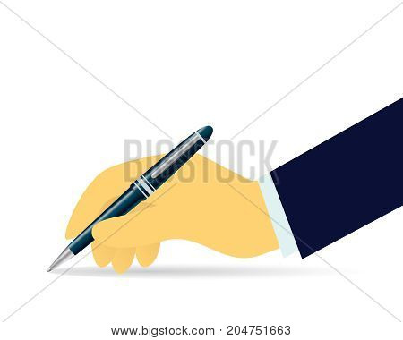 Vector illustration. Business legal agreement signing contract concept. Businessman hand holding pen in writing position isolated on white
