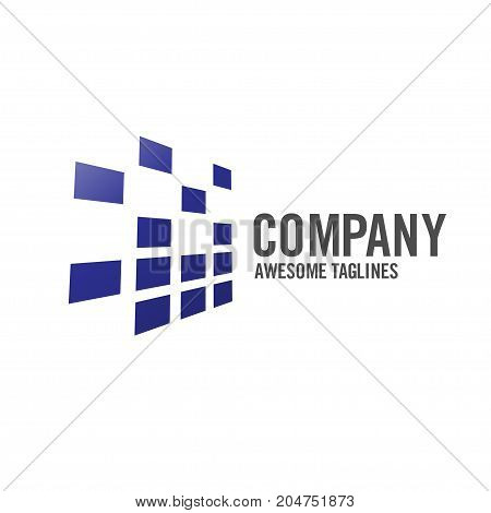 creative abstract technology logo concept, data tech investment logo