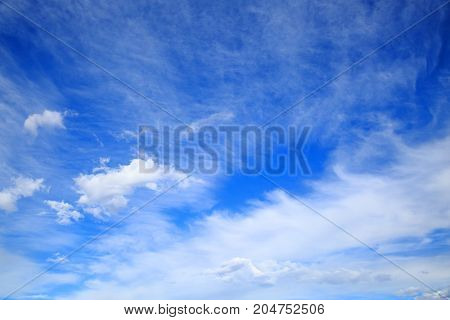 The vast blue sky with clouds. Element of design.