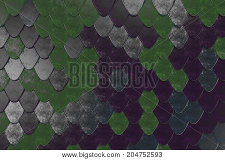 Pattern Of Rounded Roof Tiles In Different Colors