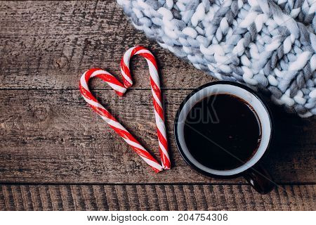 Hot Chocolate With Marshmallows And Candy Stick, Traditional Beverage For Winter Time,