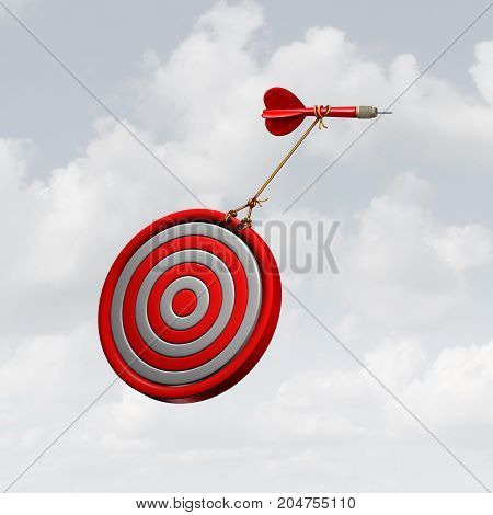Owning it and taking charge business concept as a dart pulling a bulls eye target up in the air as a leadership power move as a success motivation metaphor with 3D illustration elements.