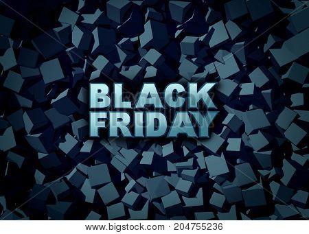 Black friday promotion sign as a sale banner as text on a dark background to celebrate holiday season shopping for low prices at retail stores offering discounted buying opportunities as a 3D illustration.