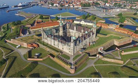 Helsingoer Denmark July 2015 - Aerial view of the old castle Kronborg