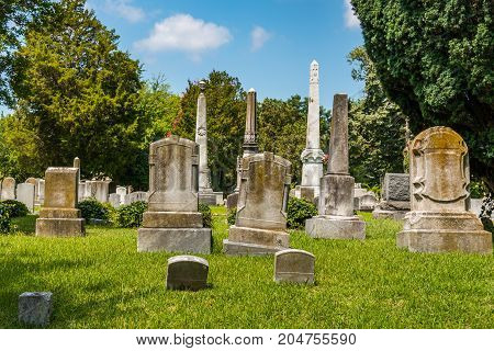 Monuments and headstones in a civil war era cemetery.