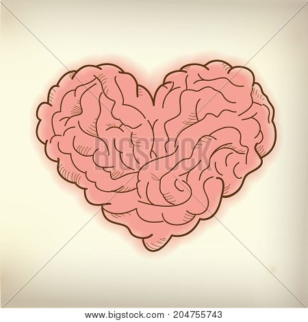 vector of heart shape combined with brain