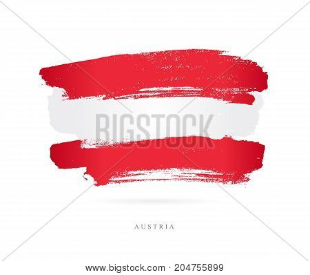 Flag of Austria. Vector illustration on white background. Beautiful brush strokes. Abstract concept. Elements for design.