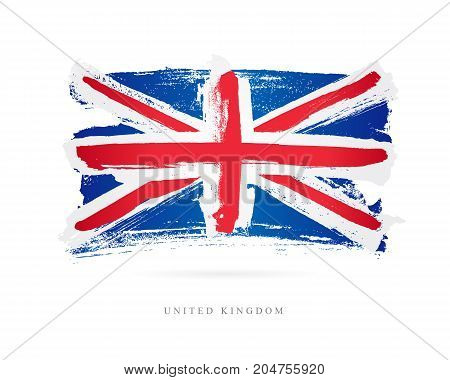 Flag of the Great Britain. Vector illustration on white background. Beautiful brush strokes. Abstract concept. Elements for design. United Kingdom