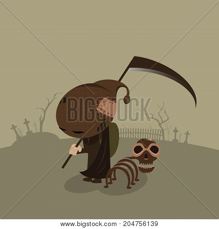 vector of little demon and skeleton dog