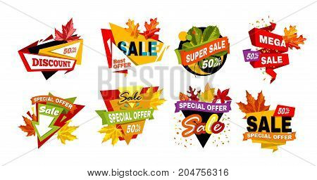 Autumnal discount emblems with dry colorful leaves isolated cartoon flat vector illustrations set on white background. Best seasonal offer promotional logotypes with bright signs collection.