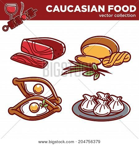 Delicious authentic fresh nutritious Caucasian food vector illustrations collection on white background. Spicy basturma, tender sulguni cheese, tasty Adjarian khachapuri and juicy khinkali on plate.