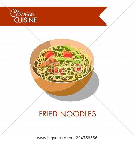 Fried noodles with delicious prawns, asparagus stems and salmon in deep bowl isolated cartoon flat vector illustration on white background. Chinese cuisine authentic dish with fresh seafood.