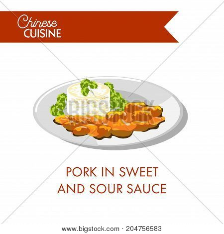 Pork in sweet and sour sauce with parsley on plate isolated cartoon flat vector illustration on white background. Chinese cuisine dish made of fried fat meat in gravy of unusual piquant taste.