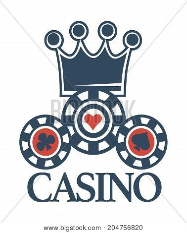 Elite casino emblem with crown and poker chips with card suits symbols in dark blue colors isolated cartoon flat vector illustration on white background. Place for gambling promotional logotype.